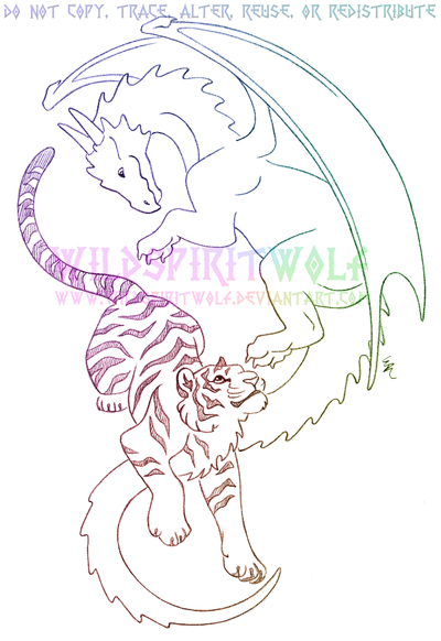 Dragon And Tiger Infinity Sketch Commission by WildSpiritWolf
