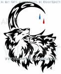 Wolf And Fox + Tear Drop Moon Tribal Design