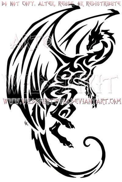 Hovering tribal dragon design by wildspiritwolf on deviantart for Dragon and wolf tattoo