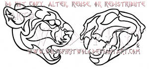 Cougar Head And Skull Lineart Commission