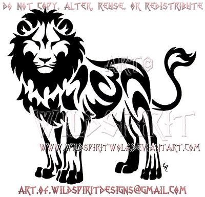 standing tribal lion design by wildspiritwolf on deviantart
