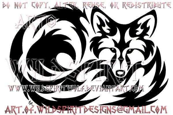Curled Fox Tribal Design by WildSpiritWolf