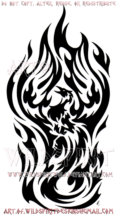 flame engulfed phoenix tribal sleeve design by wildspiritwolf on deviantart. Black Bedroom Furniture Sets. Home Design Ideas