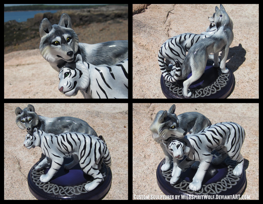 Wolf And White Tiger - Celtic Wedding Topper by WildSpiritWolf