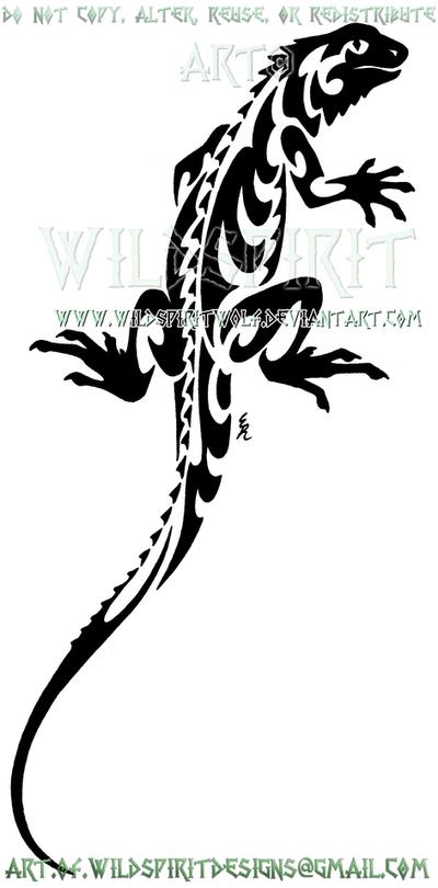 Climbing Iguana Tribal Design by WildSpiritWolf
