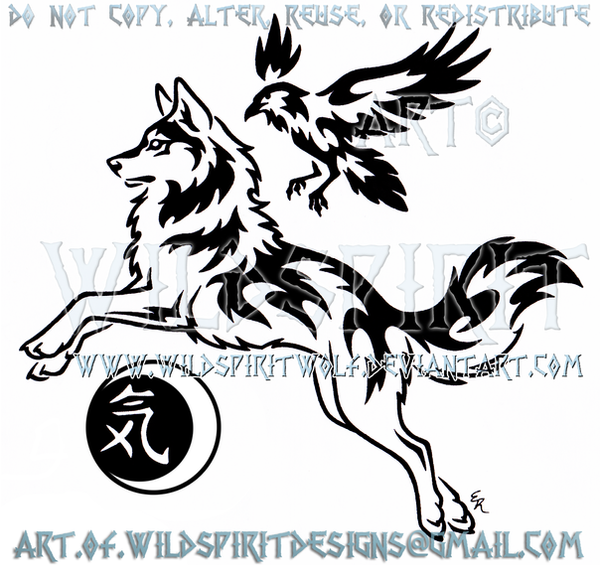 spirit wolf and raven guide tribal design by border collie clipart black and white Border Collie Outline