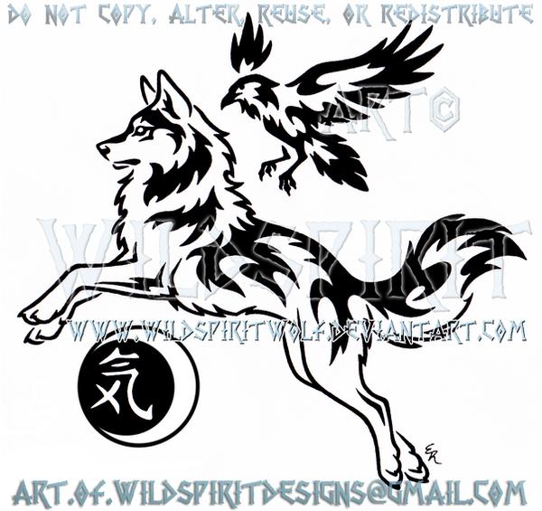 Spirit Wolf And Raven Guide Tribal Design by WildSpiritWolf