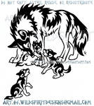 Mother Wolf And Three Pups Tribal Design