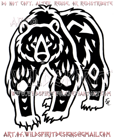 Navajo Grizzly Bear Tribal Design by WildSpiritWolf