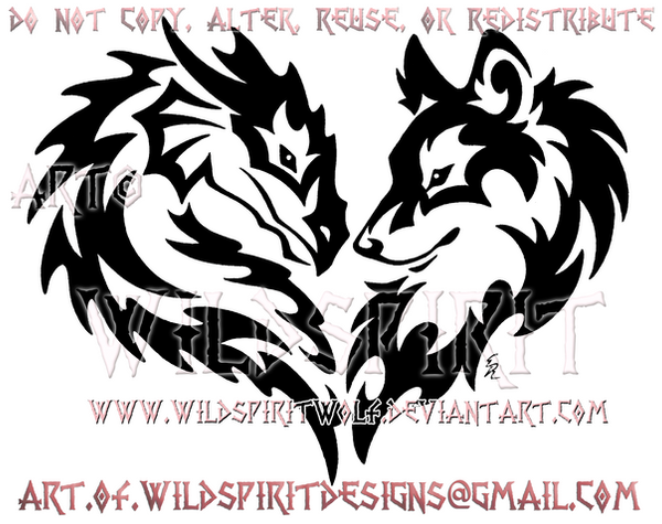 tribal dragon and wolf heart design by wildspiritwolf on deviantart. Black Bedroom Furniture Sets. Home Design Ideas