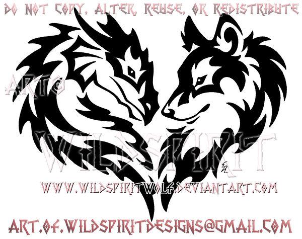 Tribal Dragon And Wolf Heart Design By Wildspiritwolf On Deviantart