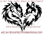 Tribal Dragon And Wolf Heart Design