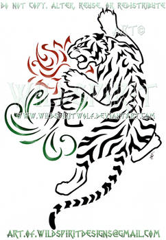 Zodiac Tiger And Rose Tribal Swirl Design