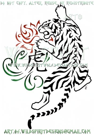 Zodiac Tiger And Rose Tribal Swirl Design by WildSpiritWolf