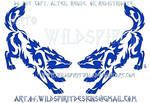 Blue Wolf Pair Tribal Design