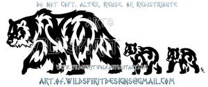 Father Bear And Cubs Tribal Design