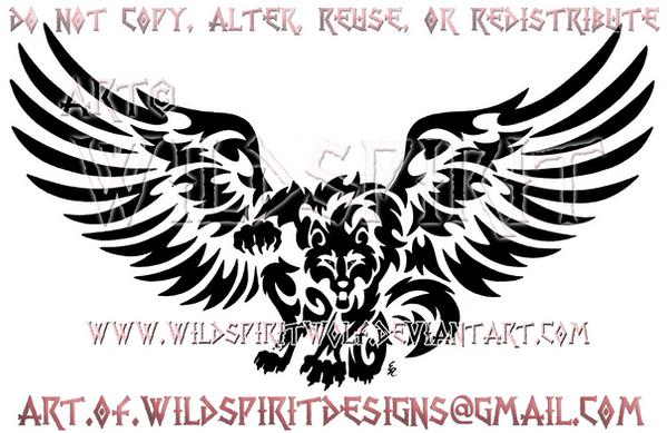 Fierce Winged Werewolf Design by WildSpiritWolf