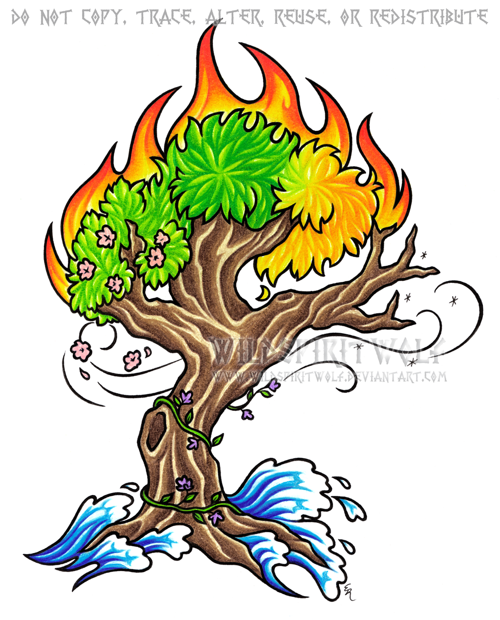 Elements Of Art Drawing : Four elements seasons color tree design by