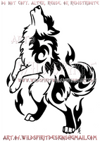 Tribal Howling Flame Wolf Design - Fangz by WildSpiritWolf