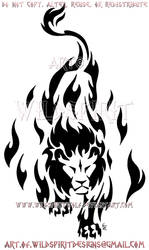 Prowling Flame Lion Tribal Design by WildSpiritWolf