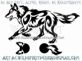 Running Wolf Semicolon Project Tribal Design by WildSpiritWolf