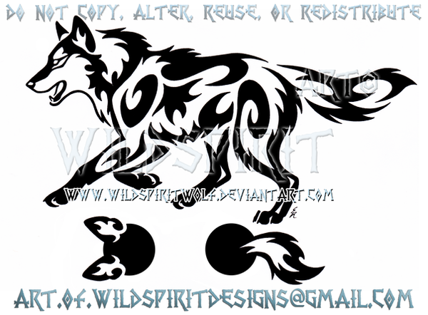 Running Wolf Semicolon Project Tribal Design by WildSpiritWolf