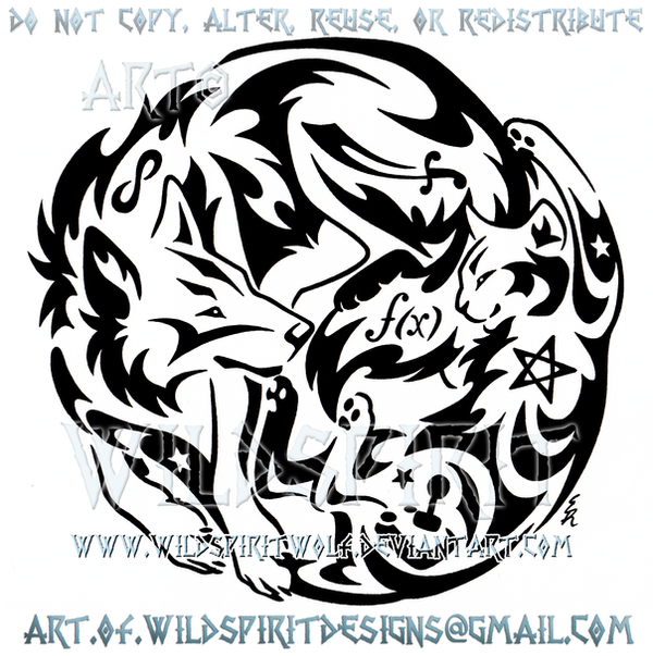 Wolf And Cat Symbols Yin Yang Tribal Design By Wildspiritwolf On