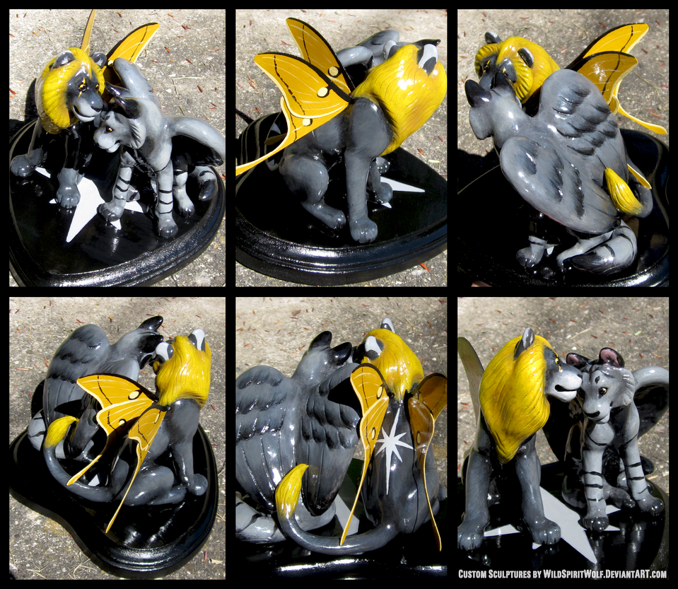 Winged Lion And Wolf-Tiger - Wedding Cake Topper by WildSpiritWolf
