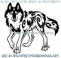 Stepping Spirit Wolf Tribal Design by WildSpiritWolf