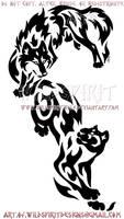 Wolf And Panther - Vertical Design by WildSpiritWolf