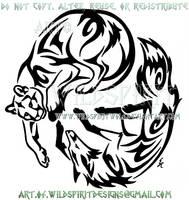 Mountain Lion And Fox Yin Yang Tribal Design by WildSpiritWolf