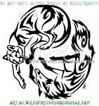 Mountain Lion And Fox Yin Yang Tribal Design