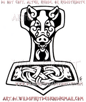 Wild Boar Thor's Hammer Design by WildSpiritWolf