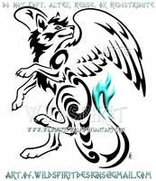 Eaguparroo In Flight Tribal Design by WildSpiritWolf