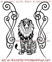Tribal African Lion And Scrolling Design by WildSpiritWolf