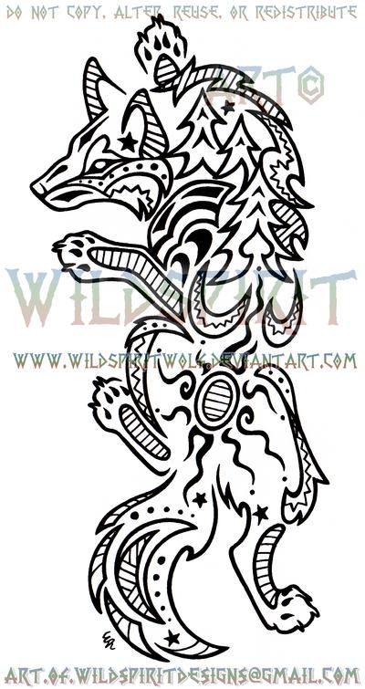 Climbing Nature Wolf Henna Design by WildSpiritWolf
