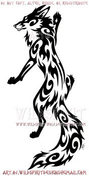 Elegant Climbing Fox Tribal Design