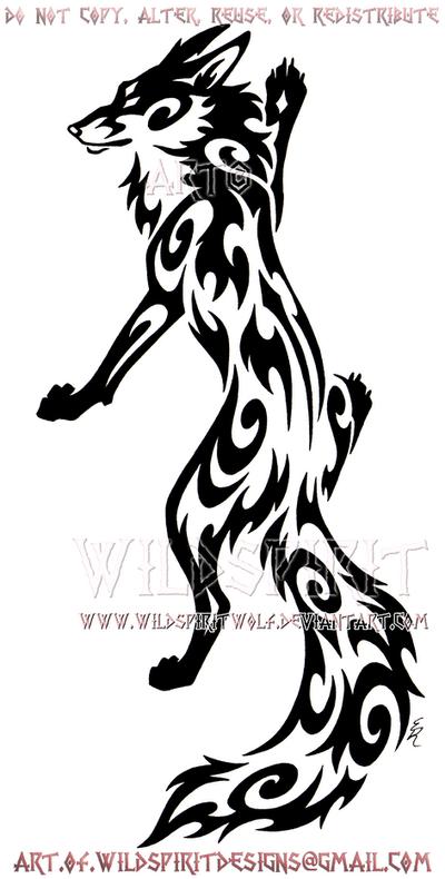 Elegant Climbing Fox Tribal Design by WildSpiritWolf