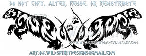 Dual Pouncing Polar Bears Tribal Design by WildSpiritWolf