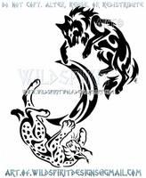 Wolf And Lynx Tribal Yin Yang + Crescent Moon by WildSpiritWolf