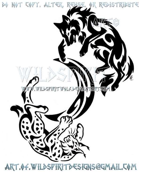 686783faf Wolf And Lynx Tribal Yin Yang + Crescent Moon by WildSpiritWolf on ...