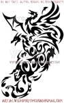 Phoenix, Dragon, Ox, And Snake Tribal Design