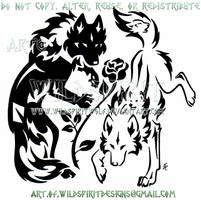 Yin Yang Wolves + Rose Tribal Design by WildSpiritWolf