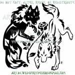 Yin Yang Wolves + Rose Tribal Design