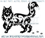 Starry Tribal Long-Haired Cat + Paw Prints