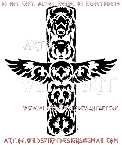 Scout Totem Pole Tribal Design by WildSpiritWolf