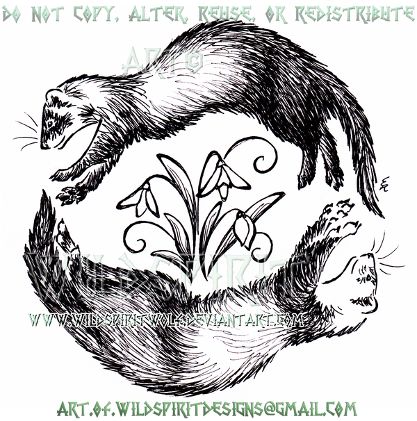 Circling Ferrets + Snowdrops Sketchy Design by WildSpiritWolf