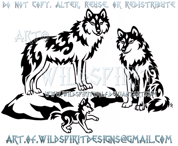 Proud Wolf Family Tribal Design by WildSpiritWolf
