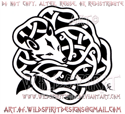 Rose Fox Knotwork Design by WildSpiritWolf