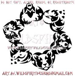 Circle Of Friends - Six Animal Hearts Design